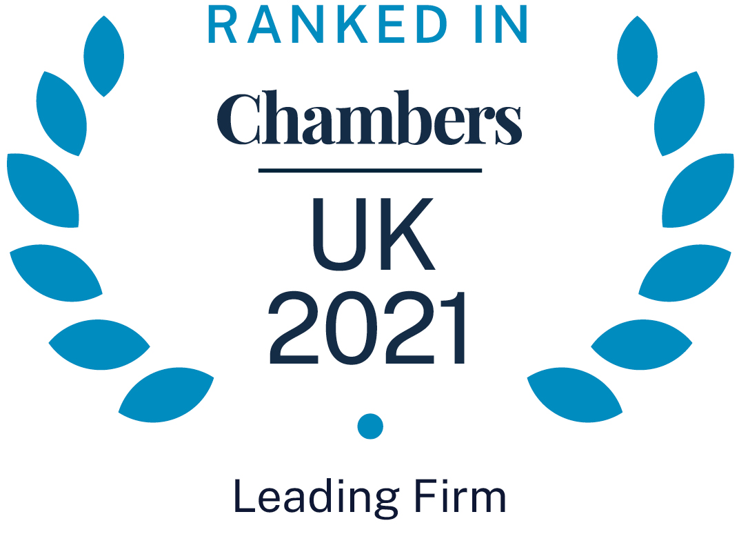 Chambers UK Ranked in 2021 - Leading Firm Badge