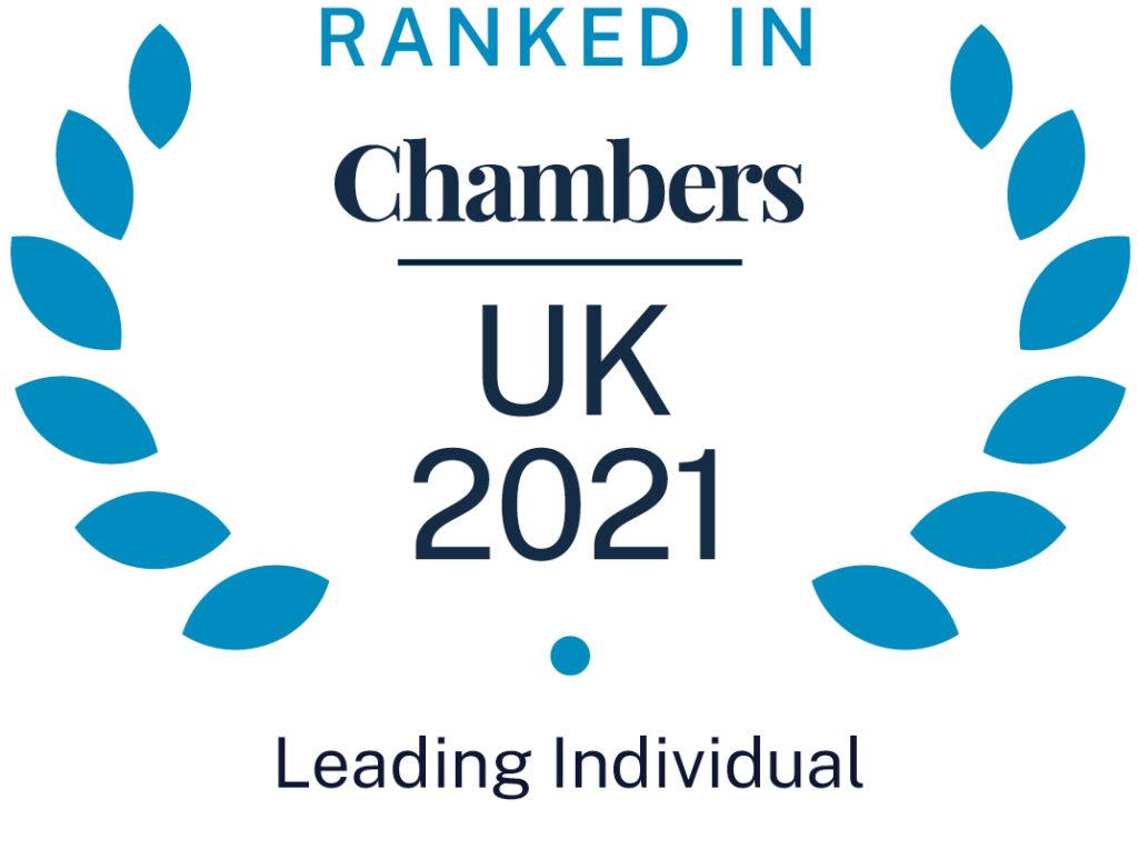 Chambers UK Ranked in 2021 - Leading Individual Badge